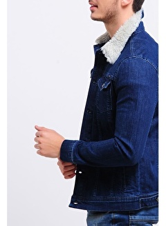 LTC Jeans Yakası Kürklü Mavi Erkek Kot Ceket